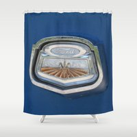 ford Shower Curtains featuring Vintage FORD Truck Badge by Andrea Jean Clausen - andreajeanco