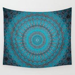 Dark Teal Circular Mandala Wall Tapestry