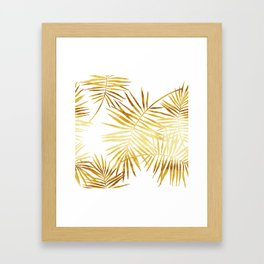 Tropical Palm Fronds in Gold Framed Art Print