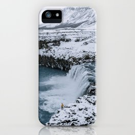 Waterfall in Icelandic highlands during winter with mountain - Landscape Photography iPhone Case