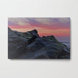 Happisburgh sea defences at sunset Metal Print