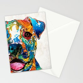 Colorful Dog Pit Bull Art - Happy - By Sharon Cummings Stationery Cards