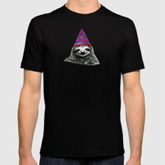 Party Sloth Black MEDIUM Mens Fitted Tee