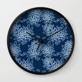 Blue abstract flowers . Wall Clock