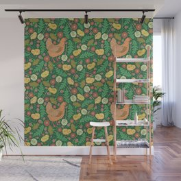 Orange hen with yellow chickens and dandelions on green background Wall Mural
