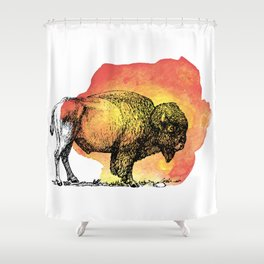 American Bison on Sunset Orange Watercolor Shower Curtain