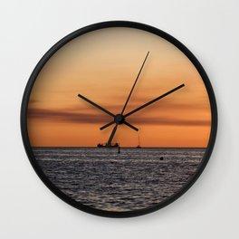 Orange Summersunset Feeling - Warnemuende - Baltic Sea Wall Clock