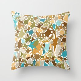 Abstract Starburst Mosaic // Turquoise, Caribbean Blue, Green, Brown // Digital Paint Splotches Throw Pillow