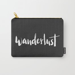 Wanderlust black with white lettering Carry-All Pouch