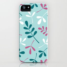 Assorted Leaf Silhouettes Teals Pink White iPhone Case