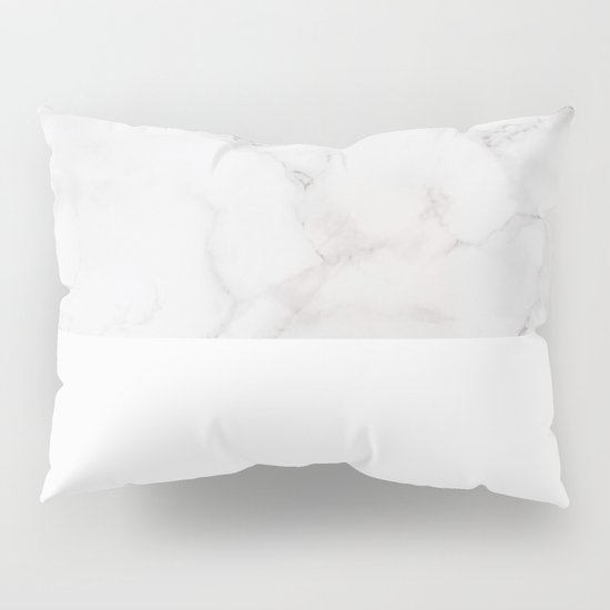 Modern pastel gray white elegant chic marble Pillow Sham by Pink Water Society6