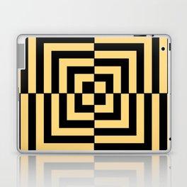 Graphic Geometric Pattern Minimal 2 Tone Illusion Squares (Golden Yellow & Black) Laptop & iPad Skin