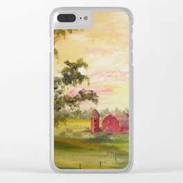 Red Barn, Farm Painting, by Faye Clear iPhone Case