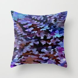 Foliage Abstract In Blue and Lilac Tones Throw Pillow