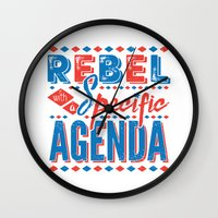 rebel Wall Clocks featuring Rebel by Word Quirk