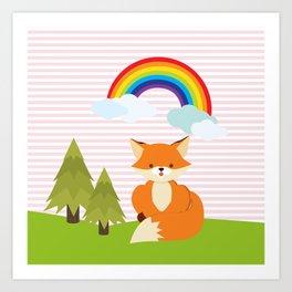 Fox, Rainbow , Pink , nursery decor , Art Print