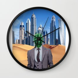 Cactus Head Collage Art Work - CACTUS MAN MODERN MAN ART Wall Clock