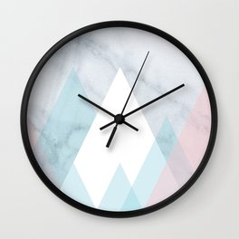 Snowy Peak on Marble Wall Clock