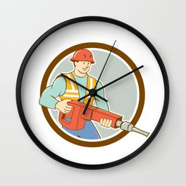 Construction Worker Jackhammer Circle Cartoon Wall Clock