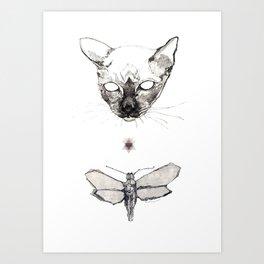 Cat & Moth Art Print