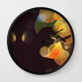 Unicorn silhouette with yellow bokeh Wall Clock