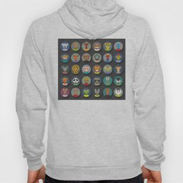 animals faces circle icons set in Trendy Flat Style. zoo Hoody