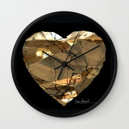 Golden Heart by Lika Ramati Wall Clock