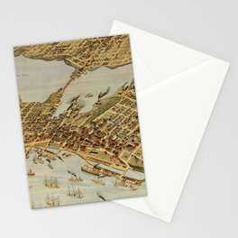 Vintage Pictorial Map of Vancouver BC (1898) Stationery Cards