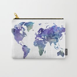 Watercolor World Map Silhouette Carry-All Pouch