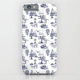 Bad Day Toile pattern in Traditional Blue and White iPhone Case