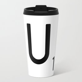 Letter U - Custom Scrabble Letter Tile Art - Scrabble U Initial Travel Mug