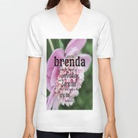 scripture V-neck T-shirts featuring Brenda scripture by KimberosePhotography