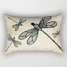 Dragonflies on tan texture Rectangular Pillow