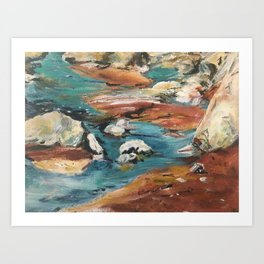 Water And Rock Expressionism Painting Art Print