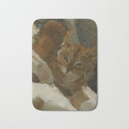 Tabby Cat Impressionist Painterly Oil Painting Orange, Blue and White Bath Mat