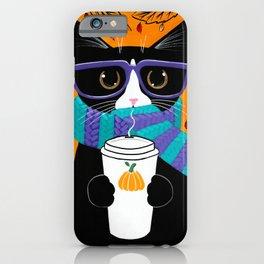 Tuxedo Autumn Coffee Cat iPhone Case