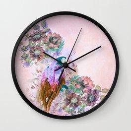 Parrot Bouquet - Rose Wall Clock