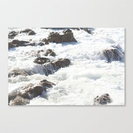 White water, dark rocks Canvas Print