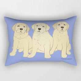 Yellow Lab Puppies on Blue Rectangular Pillow