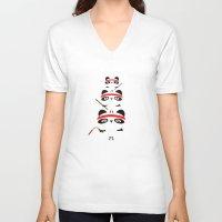 pandas V-neck T-shirts featuring Ninja Pandas by Goldnessie