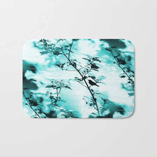 Silhouette of songbird on a branch in turquoise variation  Bath Mat