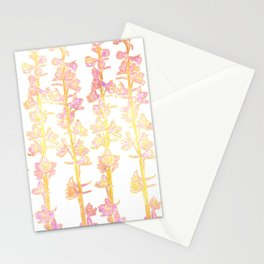 Flower Stalk Motif in Pink and Yellow on a Light Background Stationery Cards