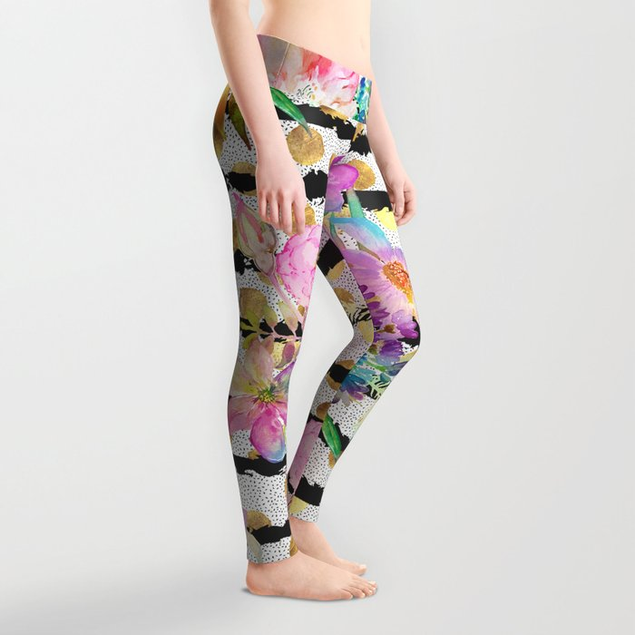 Elegant spring flowers and stripes design Leggings