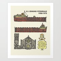 fitzgerald Art Prints featuring Edmund Fitzgerald by Hinterlund