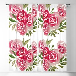 Rose Loose Floral Watercolor Painting Blackout Curtain