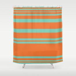 Cyan and Orange Stripes Minimalist Color Block Pattern Shower Curtain