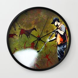 Banksy - Cave Painting Removal by street cleaning Wall Clock