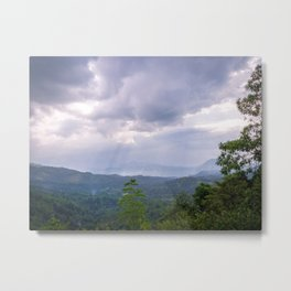 Sun Rays through the clouds above Sri Lanka | Fine Art Forest Photography Metal Print