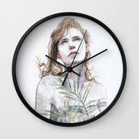 breathe Wall Clocks featuring Breathe in, breathe out by agnes-cecile