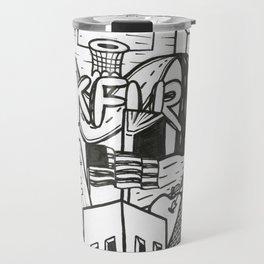 Black and White Graffiti Style Wall Art Travel Mug